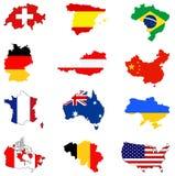 Världskartor och flaggor - länder i världen Arkivfoton
