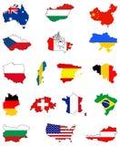 Världskartor och flaggor - länder i världen Arkivbilder