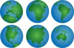 Världskontinenter Arkivfoto