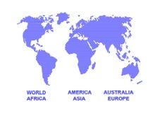 Världskontur med remsor. Royaltyfri Bild