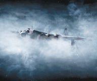 Världskrig II och flygplan som i flykten bombarderar royaltyfria bilder