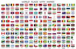 Världslandsflaggor med namn royaltyfri illustrationer