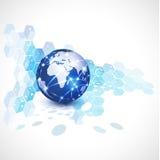 Världsnätverkskommunikation och teknologi, illustration royaltyfri illustrationer