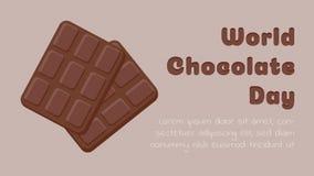 Världsomspännande chokladdag Två chokladstänger på en ljus beige sida för bakgrundsmatlandning med plan enkel design vektor illustrationer