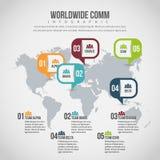 Världsomspännande Comm Infographic Arkivfoto