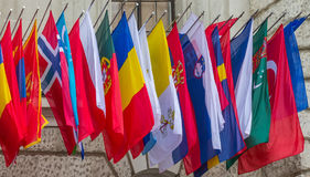 Världsomspännande flaggor Royaltyfri Fotografi