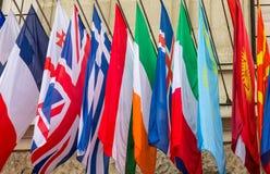 Världsomspännande flaggor Fotografering för Bildbyråer