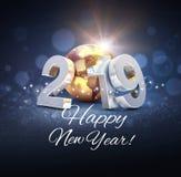 Världsomspännande hälsa kort för det nya året 2019 stock illustrationer