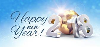 Världsomspännande hälsningkort för lyckligt nytt år 2018 Royaltyfria Bilder