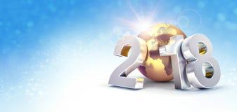 Världsomspännande hälsningkort för lyckligt nytt år 2018 Royaltyfri Illustrationer