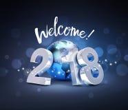 Världsomspännande hälsningkort för lyckligt nytt år 2018 Arkivfoto