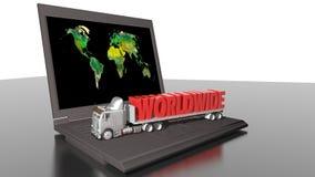 Världsomspännande leveranser och dator Arkivbilder