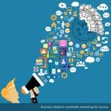 Världsomspännande marknadsföring för vektoraffärsförbindelse för framgång Royaltyfri Foto