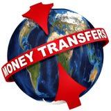 Världsomspännande pengaröverföringar stock illustrationer