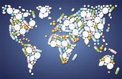 Världsomspännande preventivpillermedicin Arkivbild