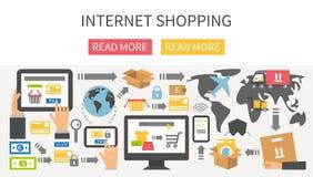 Världsomspännande sändnings och leverans, online-shopping stock illustrationer