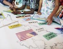 Världsomspännande utforskare Continent Country Concept för geografi royaltyfri foto