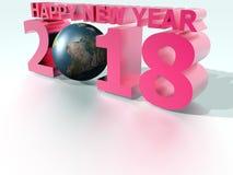 Världsrosa färger 2018 för lyckligt nytt år Vektor Illustrationer