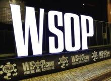 Världsserie av tecknet för poker (WSOP) på Rio Pavilion Room Royaltyfri Foto