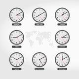 Världsstämpelurer Aktuella Tid i berömda världsstäder Hotell- eller börsväggklockor Lokala Tid runt om världen royaltyfri illustrationer