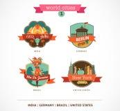 Världsstadsetiketter - Delhi, Berlin, Rio de Janeiro, New York Royaltyfri Foto