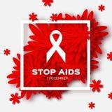 Världsstoppet bistår dag på röd origamibakgrund medvetenheten royaltyfri illustrationer
