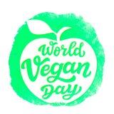 Världsstrikt vegetariandag Vektorbokstäver Fotografering för Bildbyråer