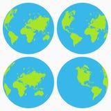 Världssymbolsuppsättning Jordjordklotsamling, planet vektor vektor illustrationer