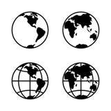 Världssymbolsuppsättning på vit bakgrund, 2 halvklot vektor royaltyfri illustrationer