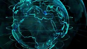 Världsteknologibegrepp Titelvärldsöppning stock video