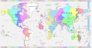Världstidszonöversikt och politisk översikt av världen stock illustrationer