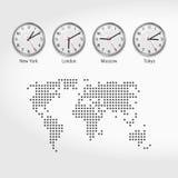 Världstidszonklockor Aktuella Tid i berömda städer Lokala Tid runt om världen Prickig översikt av världen ljus vektorvärld för ko vektor illustrationer