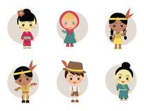 Världsungar från Japan Holland Indian stock illustrationer
