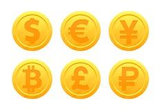 Världsvalutasymboler i form av guld- mynt med tecken: dollar euro, pund, rubel, yen, bitcoin, yuan royaltyfri illustrationer