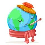 Värma ekologi för termometerispåsen som sjukt kallt ledset lider jordklotet för sinnesrörelsenaturjord royaltyfri illustrationer