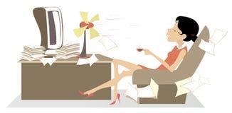 Värma i kontoret, kvinnan, tabellfanen och en kopp kaffe eller en teillustration royaltyfri illustrationer