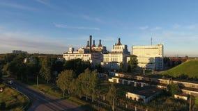 Värme och kraftverk i Ryssland, flyg- sikt arkivfilmer