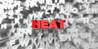 VÄRME - Röd text på typografibakgrund - 3D framförde fri materielbild för royalty vektor illustrationer