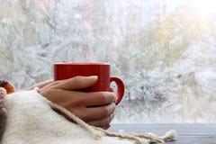 Värmedrink hemma i vinter Arkivfoto