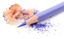 Vässade blyertspenna och wood shavings Royaltyfri Fotografi