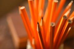 Vässade gula blyertspennor stänger sig upp arkivfoto