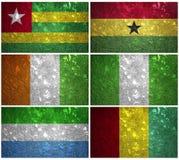 Västafrikaflaggor Fotografering för Bildbyråer