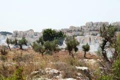 Västbankenbosättningar och tårgas i palestinskt fält Arkivfoton