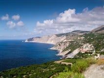 Västkusten av den Kefalonia ön Arkivbild