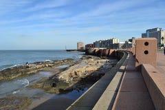 Västkusten av Montevideo, Uruguay Arkivfoto