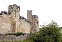 västra alnwick slottvägg royaltyfri fotografi