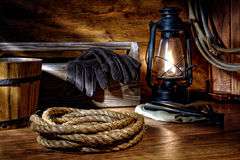 västra amerikanskt rep för cowboyranchingrodeo Arkivfoton