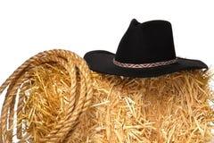 västra amerikanskt rep för rodeo för ranching för cowboyhatt Arkivfoton