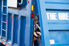 VÄSTRA - Berlin, NJ - MAJ 28: Diggerland USA, themed affärsföretag för konstruktion parkerar Royaltyfri Bild