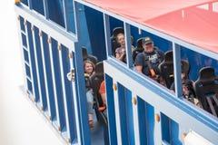 VÄSTRA - Berlin, NJ - MAJ 28: Diggerland USA, themed affärsföretag för konstruktion parkerar Royaltyfria Bilder